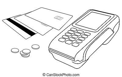 pochi, monete, terminale, pos, carte credito, profili