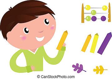 poco, accessories., carino, ragazzo, vettore, cartone animato, illustration., scuola