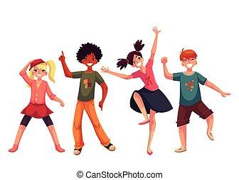 poco, bambini, ballo, stile, illustrazione, vettore, expressively, cartone animato
