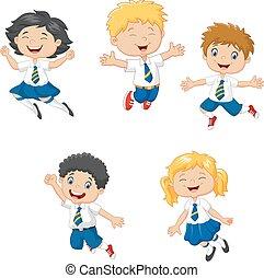 poco, bambini, sorridente, saltare