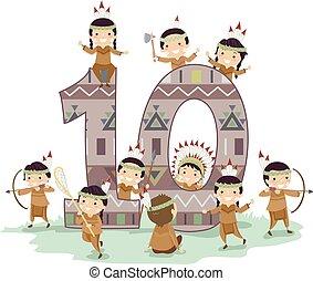 poco, bambini, stickman, dieci, illustrazione, ragazzi, indiano