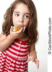 poco, bella ragazza, mangiare, ciambella