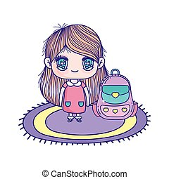 poco, borsa, ragazza, carino, cartone animato, scuola, moquette