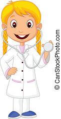 poco, c, ragazza, il portare, cartone animato, infermiera