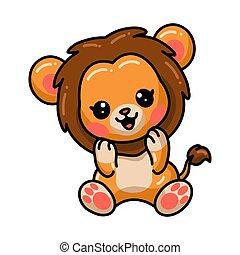 poco, carino, leone, seduta, cartone animato