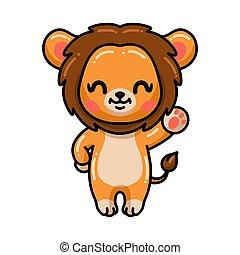 poco, carino, ondeggiare, leone, mano, cartone animato