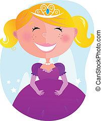 poco, carino, principessa, vestito colore rosa