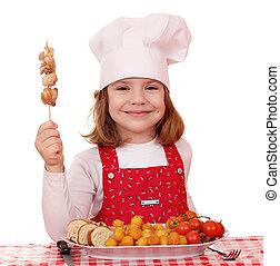 poco, carne, cuoco, pollo cotto, ragazza, felice