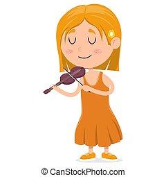poco, cartone animato, lei, felice, bianco, violino, gioco, fondo, ragazza, chiuso, illustrazione, occhi, vettore