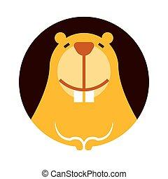 poco, cartone animato, sorridente, carattere, denti, carino, castoro, grande