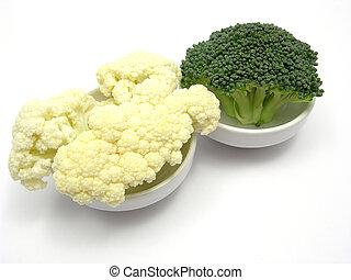 poco, cavolfiore, ciotole, locanda, chinaware, broccolo