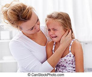 poco, confortevole, lei, pianto, madre, ragazza