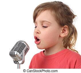 poco, corpo, isolato, mezzo, ragazza, microfono, canto, camicia rossa