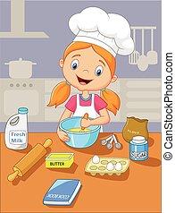 poco, cottura, cartone animato, ragazza