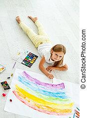 poco, disegnare, floorlittle, pavimento, allegro, ragazza, dire bugie