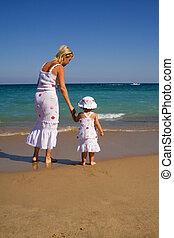 poco, donna, spiaggia, camminare, ragazza