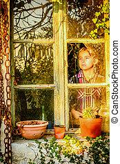 poco, finestra, ragazza, seduta