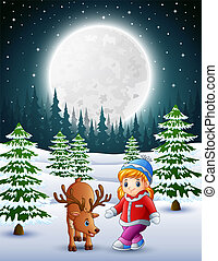 poco, giardino, nevoso, cervo, ragazza notte, gioco