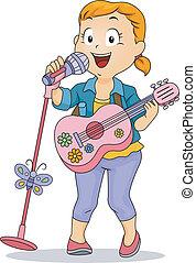 poco, giocattolo, compiendo, microfono, chitarra, usando, ragazza, capretto