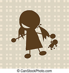 poco, gioco, ragazza, bambola