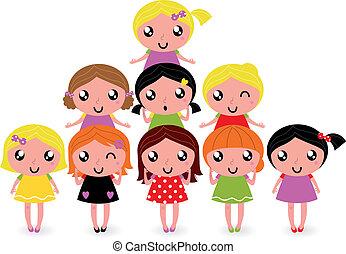 poco, gruppo, ragazze, isolato, bianco, felice