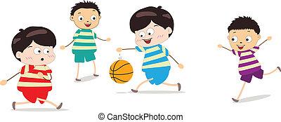 poco, pallacanestro, gioco, bambini