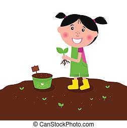 poco, piantatura, felice, pianta, capretto