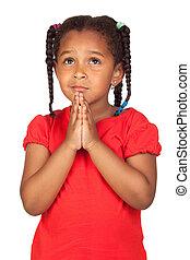 poco, pregare, qualcosa, ragazza, triste