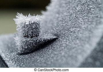 poco profondo, metallo, ghiaccio, mattina, presto, campo, profondità, cristalli