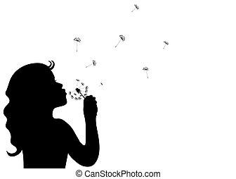 poco, soffiando, silhouette, ragazza