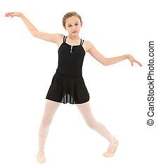 poco, spastic, ballo, sopra, ritaglio, ballerino, ragazza, path., bianco, poveramente