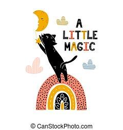 poco, stampa, magia, arcobaleno, carino, nero, standing, stella, presa, gatto