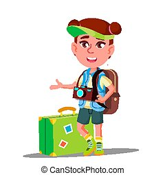poco, suo, berretto, testa, illustrazione, isolato, torace, macchina fotografica, vector., valigia, viaggiatore, ragazza