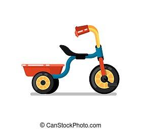 poco, triciclo, isolato, vettore, bambini, icona