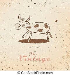 poco, vendemmia, etichetta, carta, sbiadito, vitello