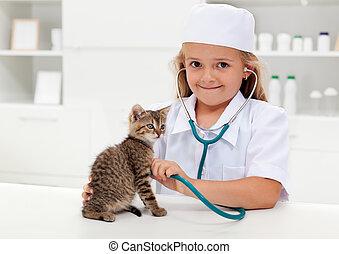 poco, veterinario, ragazza, gioco