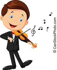 poco, violino esegue, ragazzo, cartone animato