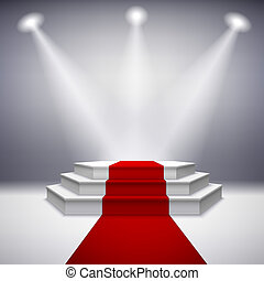 podio, moquette, illuminato, rosso, palcoscenico