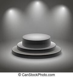 podio, nero, illuminato, vuoto