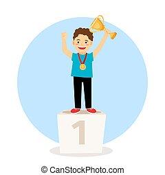 podio, vincitore, giovane bambino