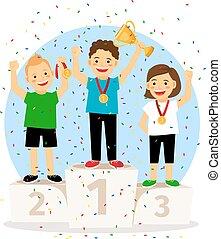 podio, vincitore, giovani bambini