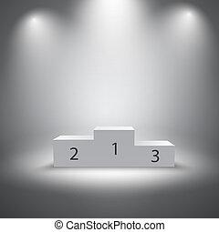 podio, vincitori, illuminato, sport