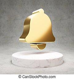 podium., simbolo, campana, icon., marmo, bianco, baluginante, dorato