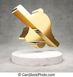 podium., simbolo, campana, icon., marmo, bianco, baluginante, dorato, barra obliqua