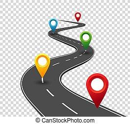 pointers., viaggio, affari, strada, sinuosità, infographics., successo, progresso, concetto, perno, way.
