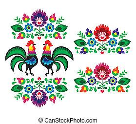 polacco, etnico, ricamo, floreale