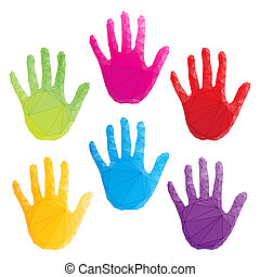 poligonal, colorito, arte, stampe, mano, vettore