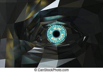 poligono, metallico, fantascienza, occhio, artificiale