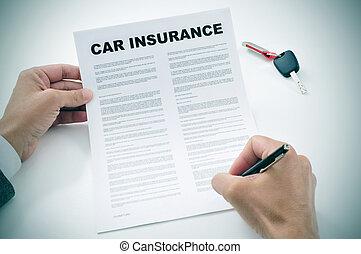politica, automobile, firmare, assicurazione, uomo