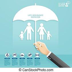 politica, servizi, taglio, illustrations., famiglia, tenendo ombrello, concettuale, assicurazione, mano, style., carta, design., proteggere, vettore